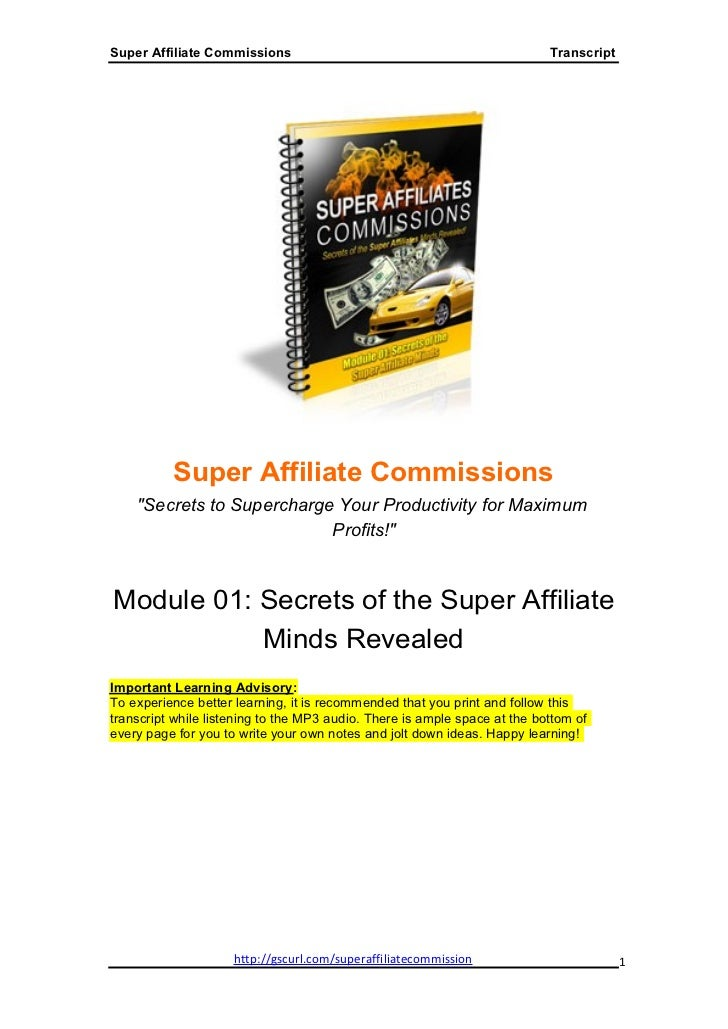 Super Affiliate Commissions - Module1