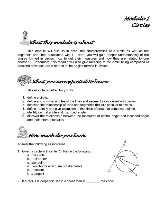 Module 1 Circles What this module is about This module will discuss in detail the characteristics of a circle as well as t...