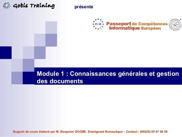 Connaissances générales et gestion des documents