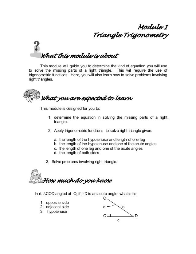 Module 1 Triangle Trigonometry What this module is about This module will guide you to determine the kind of equation you ...