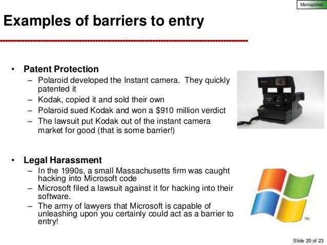 Barriers to entry under monopoly?