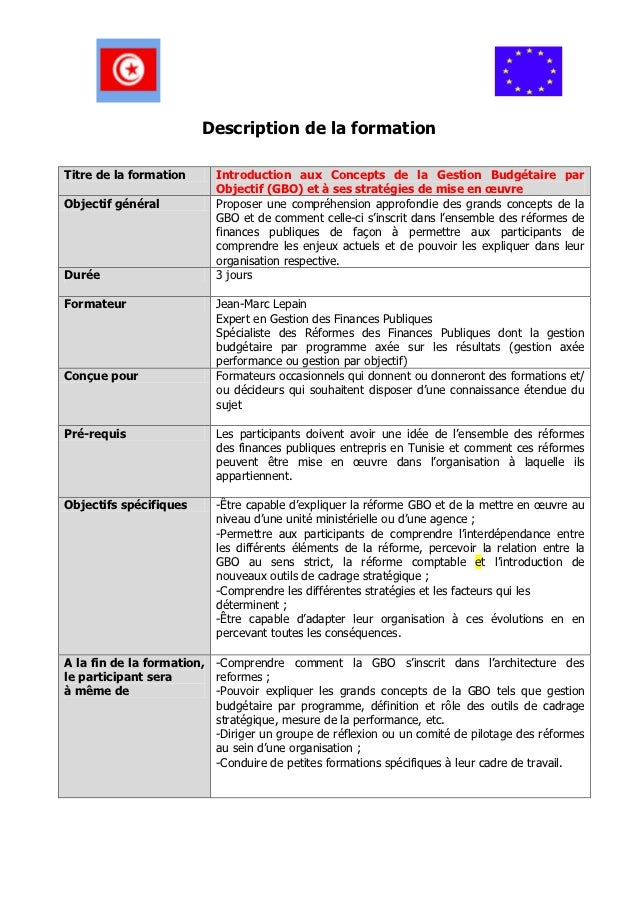 Description de la formationTitre de la formation      Introduction aux Concepts de la Gestion Budgétaire par              ...