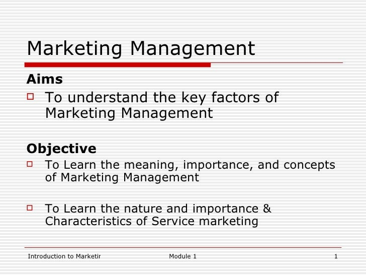 Module 1 Introduction To Marketing Management