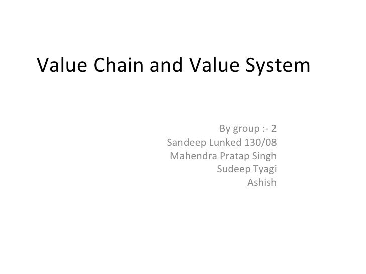 Value Chain and Value System                         By group :- 2              Sandeep Lunked 130/08               Mahend...