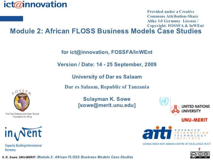 CASE STUDIES: East-Southern Africa FLOSS Business Models