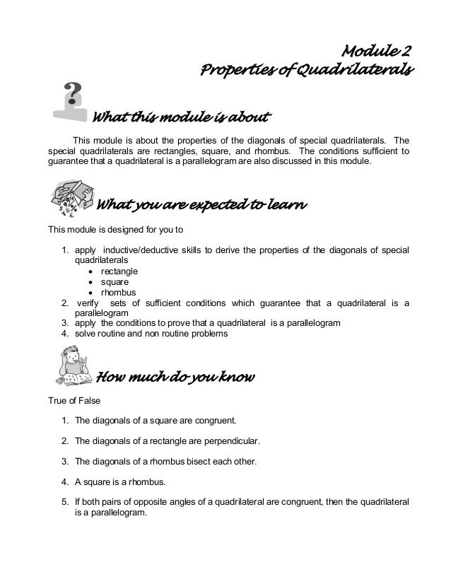 Module 2 properties of quadrilaterals