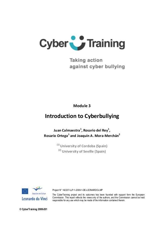 Module 3Introduction to CyberbullyingJuan Calmaestra1, Rosario del Rey1,Rosario Ortega1and Joaquín A. Mora-Merchán2(1)Univ...