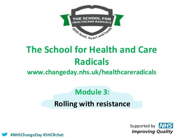 The School for Health and Care Radicals www.changeday.nhs.uk/healthcareradicals  Module 3: Rolling with resistance Support...