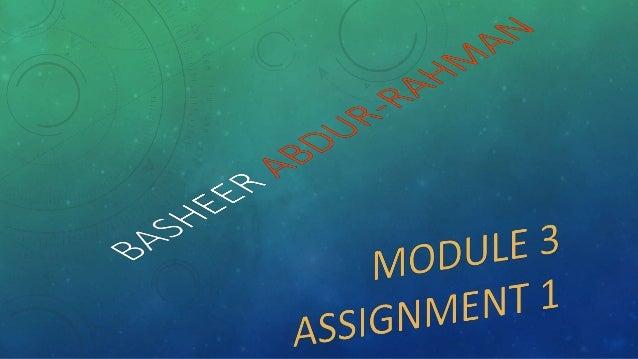 Module 3 assignment 1      final presentation