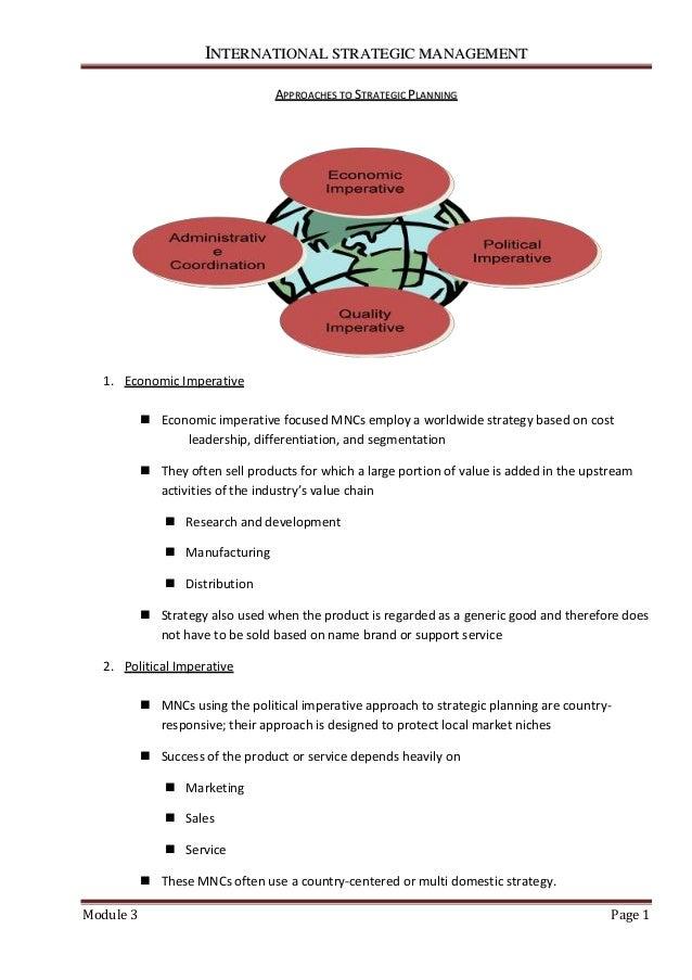 IINNTTEERRNNAATTIIOONNAALL SSTTRRAATTEEGGIICC MMAANNAAGGEEMMEENNTT Module 3 Page 1 AAPPPPRROOAACCHHEESS TTOO SSTTRRAATTEEG...
