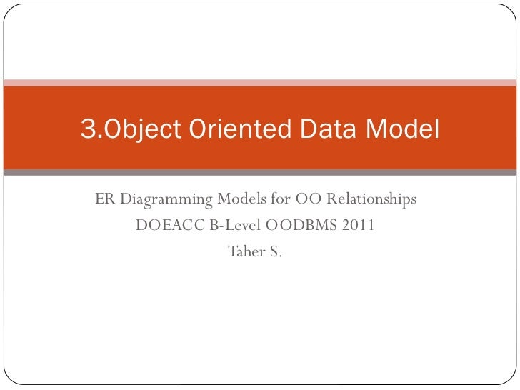 ER Diagramming Models for OO Relationships DOEACC B-Level OODBMS 2011 Taher S. 3.Object Oriented Data Model