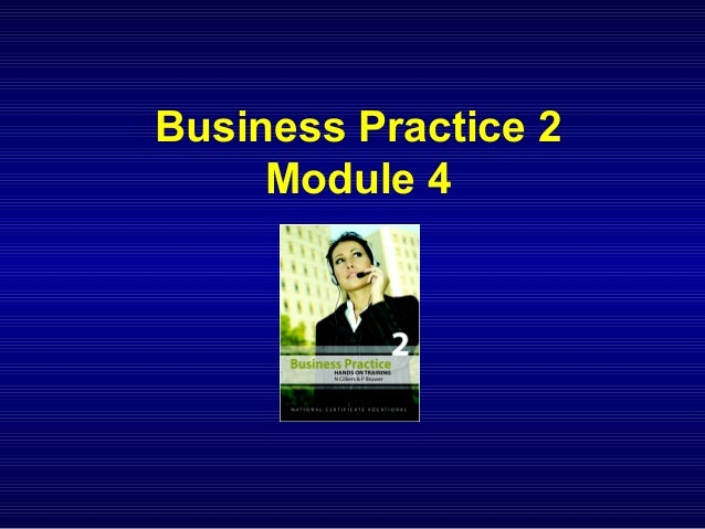 NCV 2 Business Practice Hands-On Support - Module 4