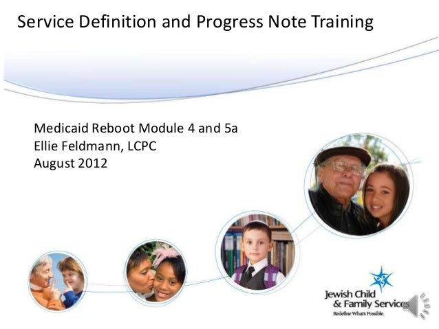 Medicaid Reboot Module 4 and 5aEllie Feldmann, LCPCAugust 2012Service Definition and Progress Note Training