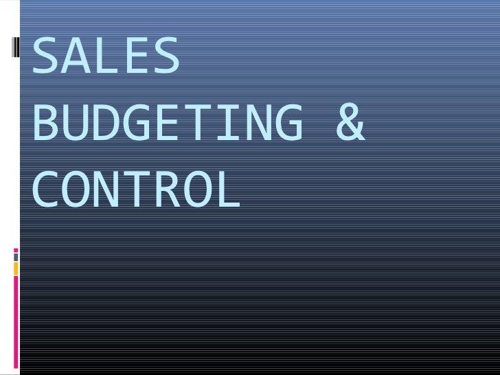 SALESBUDGETING &CONTROL