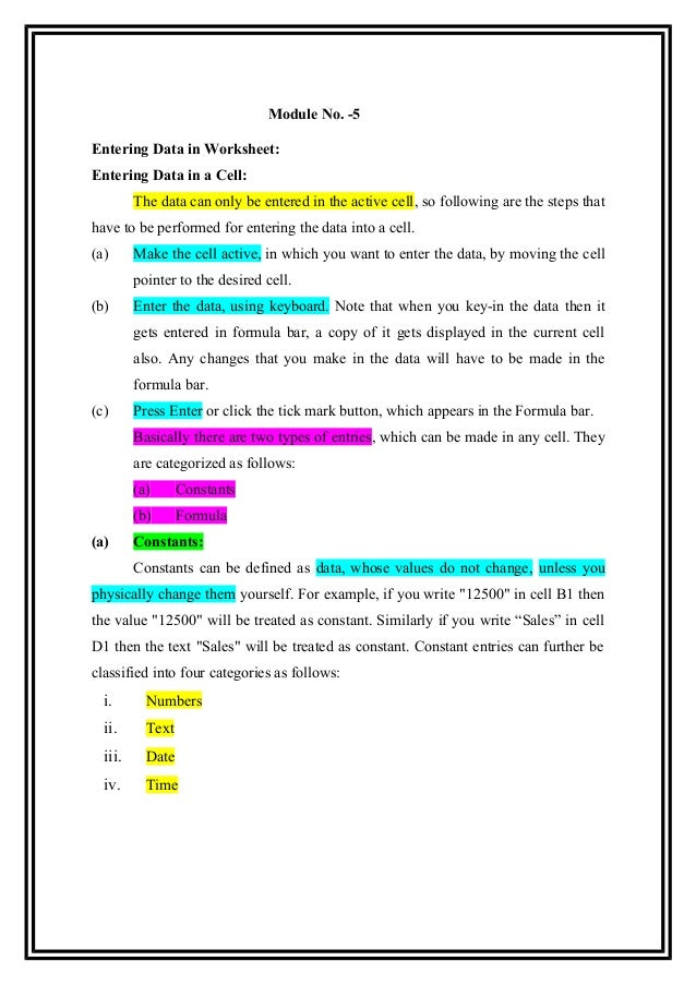 Module 5 entering data in worksheet