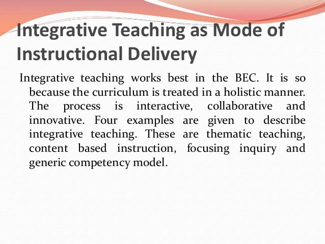 the value of integrated curriculum The idea of school integrated curriculum through the experience of one leading   after- such simultaneousness symbolizes the importance of education, even for.
