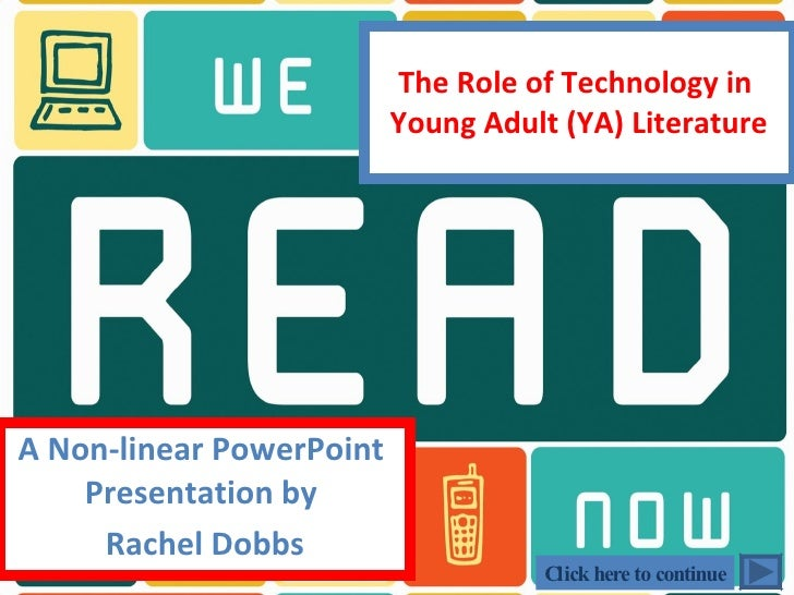 The Role of Technology in  Young Adult (YA) Literature A Non-linear PowerPoint  Presentation by  Rachel Dobbs Click here t...