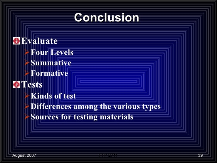 What is the difference between conclusion and evaluation?