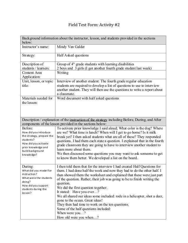 Field Test Form: Activity #2Background information about the instructor, lesson, and students provided in the sectionsbelo...