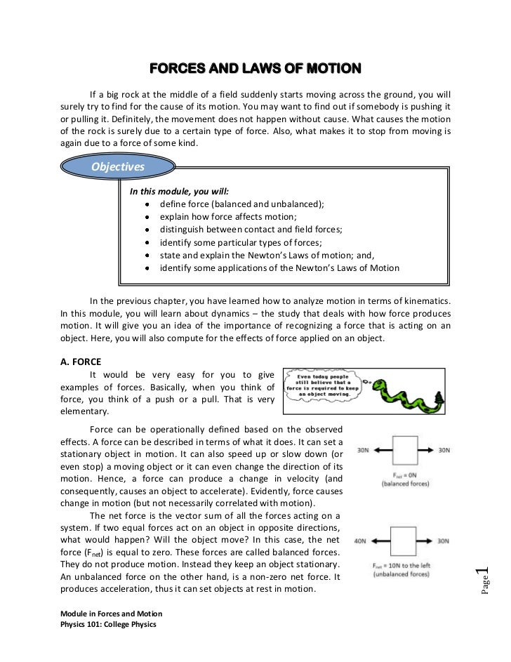 Module in forces and laws of motion