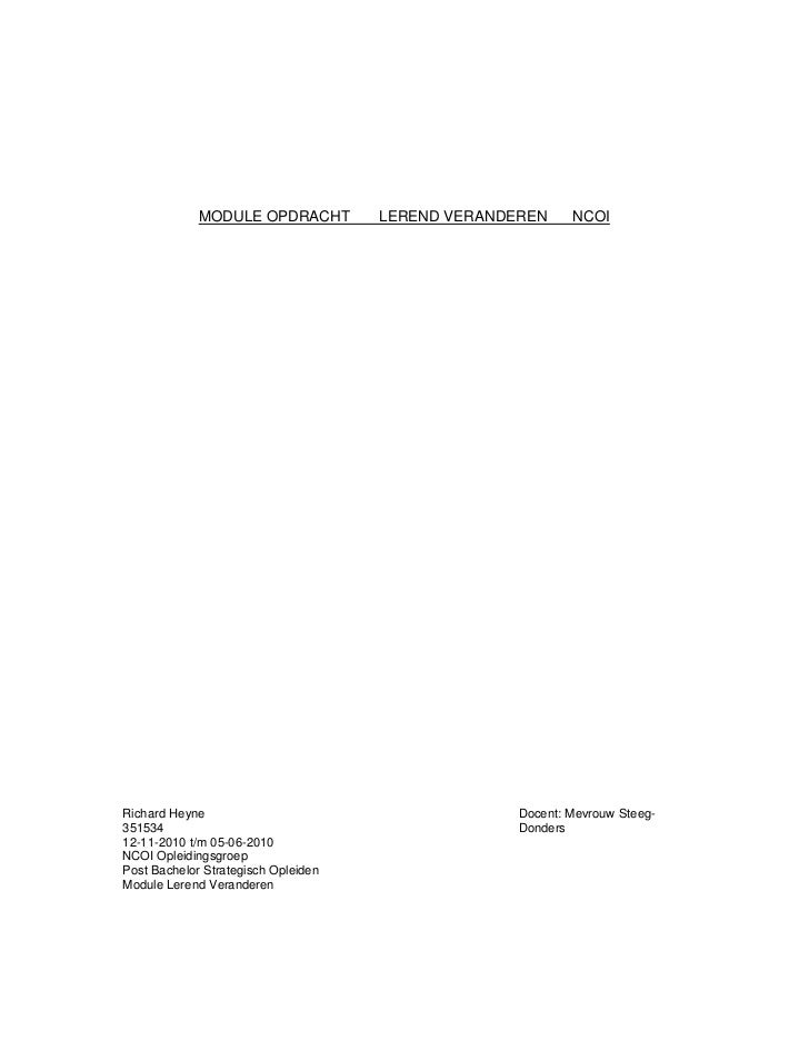 NCOI Module Opdracht Lerend Veranderen NCOI