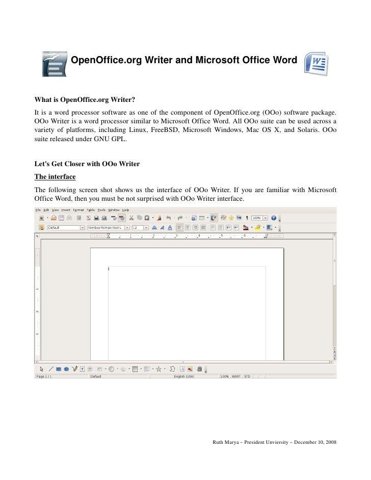 OpenOffice.orgWriterandMicrosoftOfficeWord   WhatisOpenOffice.orgWriter? Itisawordprocessorsoftwareasoneo...