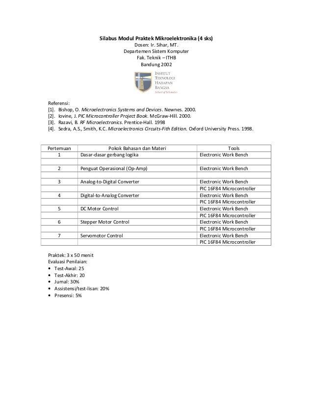 Silabus Modul Praktek Mikroelektronika (4 sks) Dosen: Ir. Sihar, MT. Departemen Sistem Komputer Fak. Teknik – ITHB Bandung...