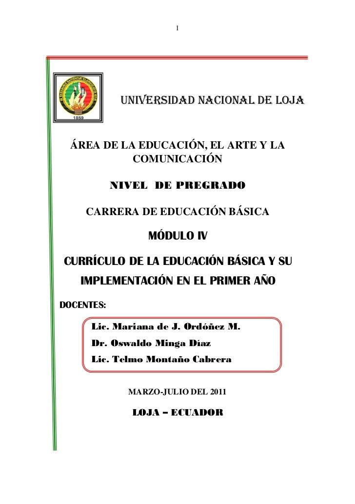 1             UNIVERSIDAD NACIONAL DE LOJA  ÁREA DE LA EDUCACIÓN, EL ARTE Y LA            COMUNICACIÓN            NIVEL DE...
