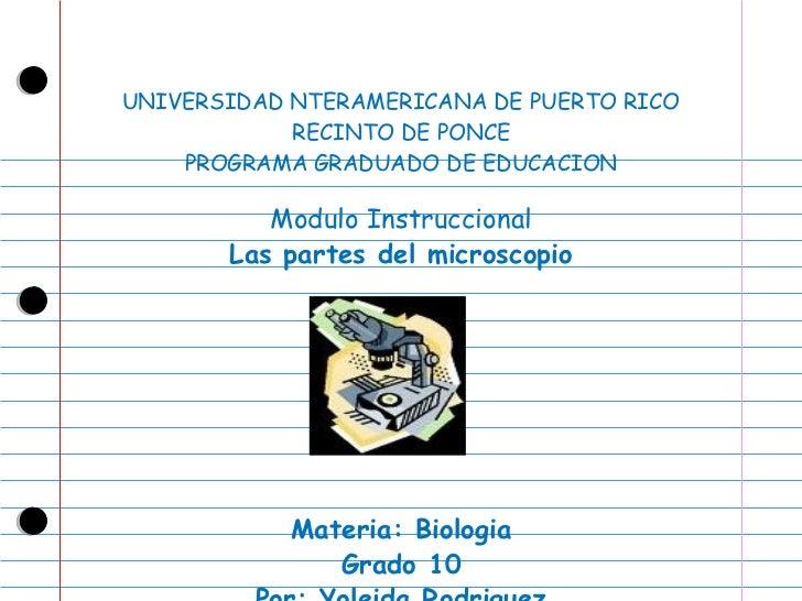 UNIVERSIDAD NTERAMERICANA DE PUERTO RICO RECINTO DE PONCE PROGRAMA GRADUADO DE EDUCACION Modulo Instruccional Las partes d...