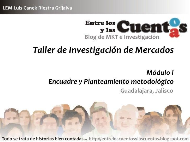 Taller de Investigación de Mercados                                  Módulo I    Encuadre y Planteamiento metodológico    ...