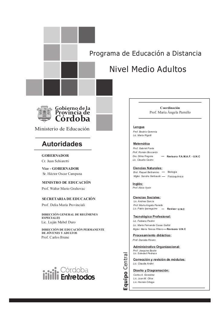 Programa de Educación a Distancia                                       Nivel Medio Adultos           Gobierno de la      ...