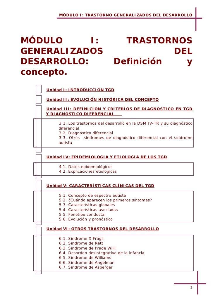 MÓDULO I: TRASTORNO GENERALIZADOS DEL DESARROLLOMÓDULO      I:                              TRASTORNOSGENERALIZADOS       ...