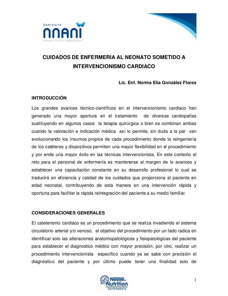 CUIDADOS DE ENFERMERIA AL NEONATO SOMETIDO A                     INTERVENCIONISMO CARDIACO                                ...