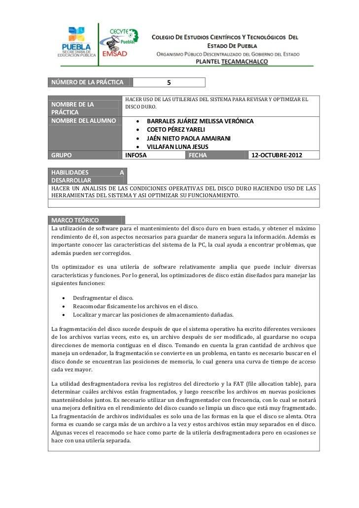 NÚMERO DE LA PRÁCTICA                        5                              HACER USO DE LAS UTILERIAS DEL SISTEMA PARA RE...