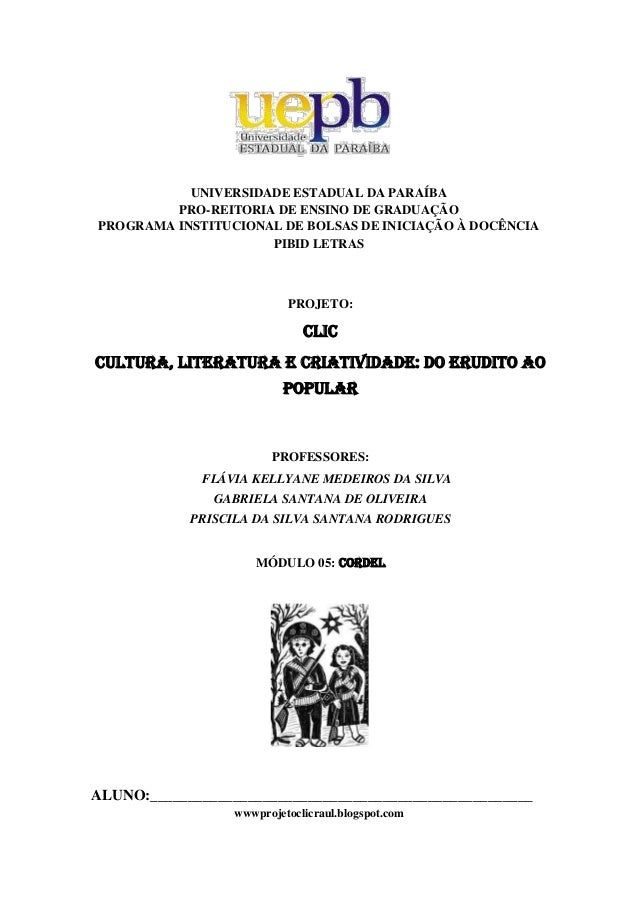 UNIVERSIDADE ESTADUAL DA PARAÍBAPRO-REITORIA DE ENSINO DE GRADUAÇÃOPROGRAMA INSTITUCIONAL DE BOLSAS DE INICIAÇÃO À ...