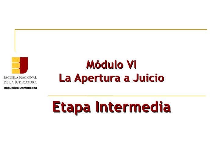 Módulo VI La Apertura a Juicio Etapa Intermedia