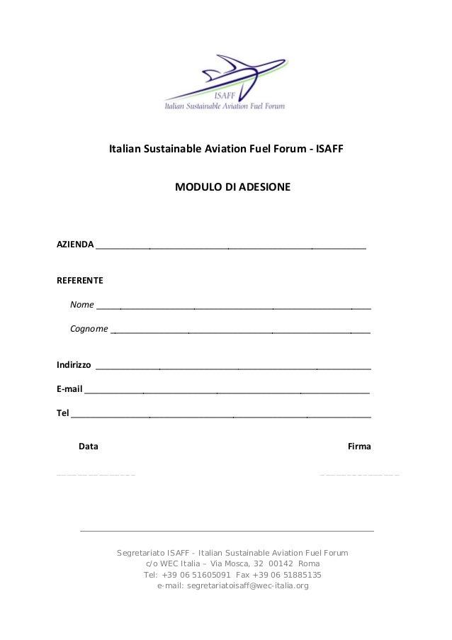 ItalianSustainableAviationFuelForum‐ISAFF  MODULODIADESIONE AZIENDA_________________________________________...