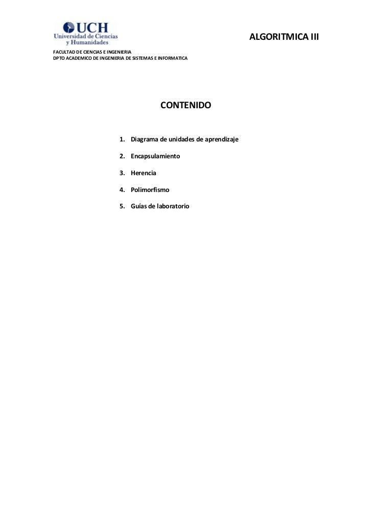 ALGORITMICA IIIFACULTAD DE CIENCIAS E INGENIERIADPTO ACADEMICO DE INGENIERIA DE SISTEMAS E INFORMATICA                    ...