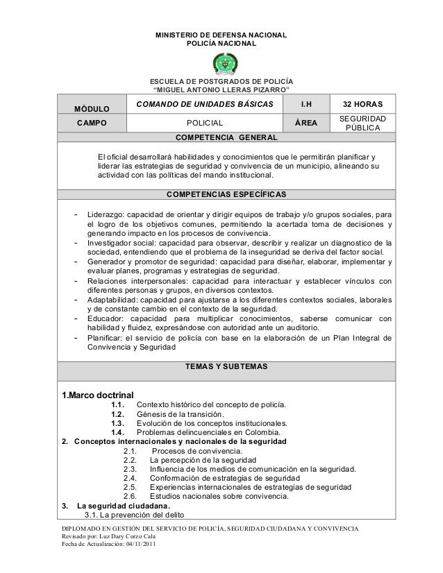 MINISTERIO DE DEFENSA NACIONAL                                 POLICÍA NACIONAL                        ESCUELA DE POSTGRAD...