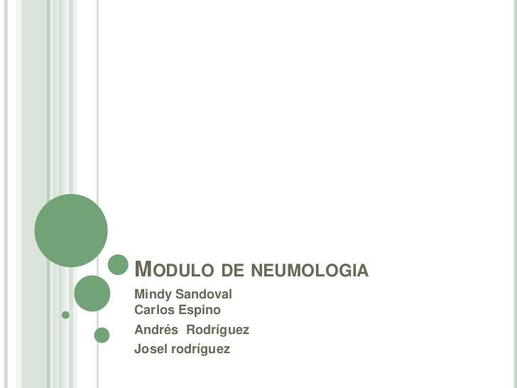 Modulo de neumologia<br />Mindy SandovalCarlos Espino<br />Andrés  Rodríguez<br />Joselrodríguez<br />