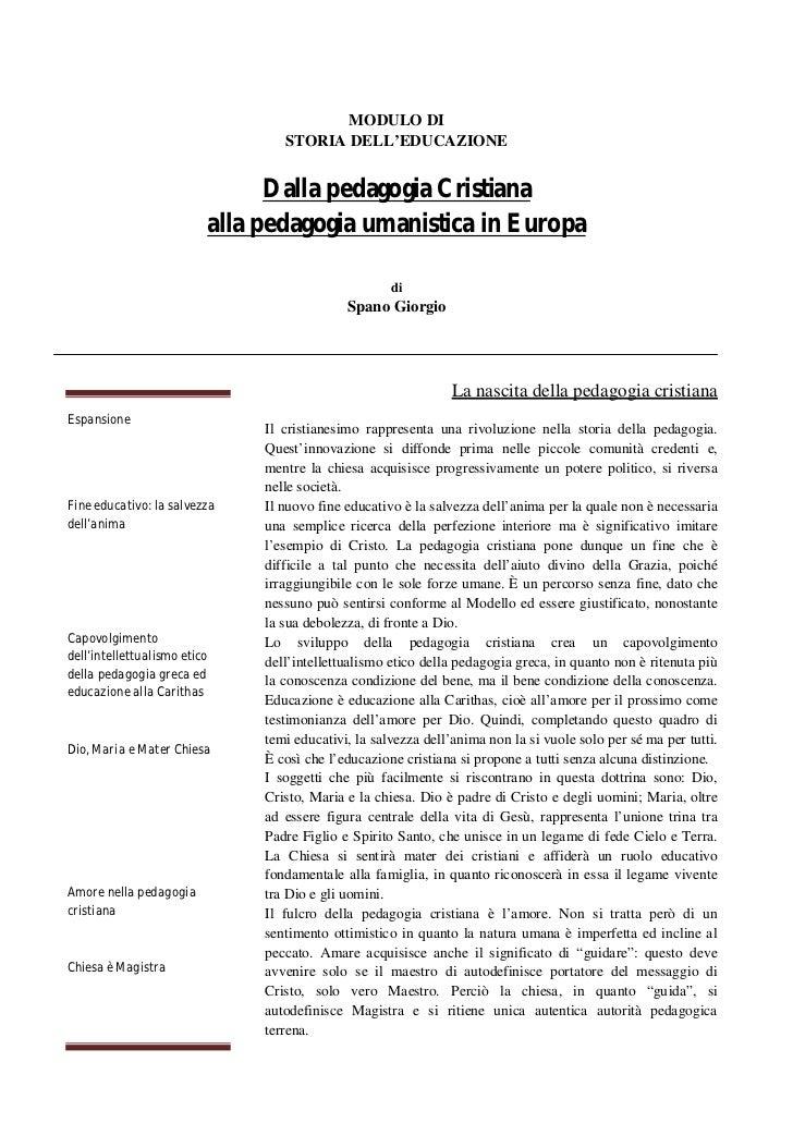 Dalla pedagogia Cristiana alla pedagogia umanistica in Europa