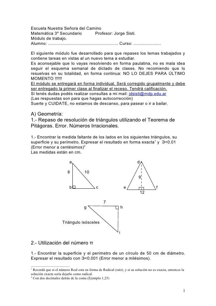 Escuela Nuestra Señora del Camino Matemática 3º Secundario                       Profesor: Jorge Sisti. Módulo de trabajo....