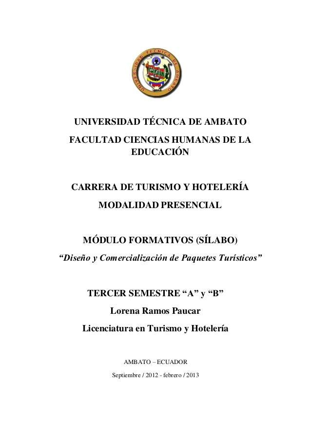 UNIVERSIDAD TÉCNICA DE AMBATO  FACULTAD CIENCIAS HUMANAS DE LA            EDUCACIÓN   CARRERA DE TURISMO Y HOTELERÍA      ...