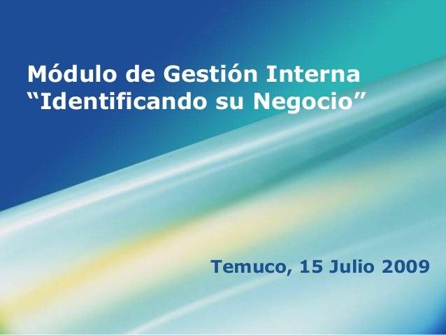 """Módulo de Gestión Interna """"Identificando su Negocio"""" Temuco, 15 Julio 2009"""