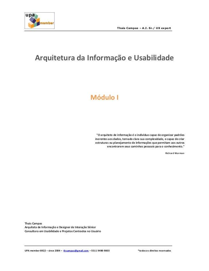 Thais Campas – A.I. Sr./ UX expert        Arquitetura da Informação e Usabilidade                                         ...