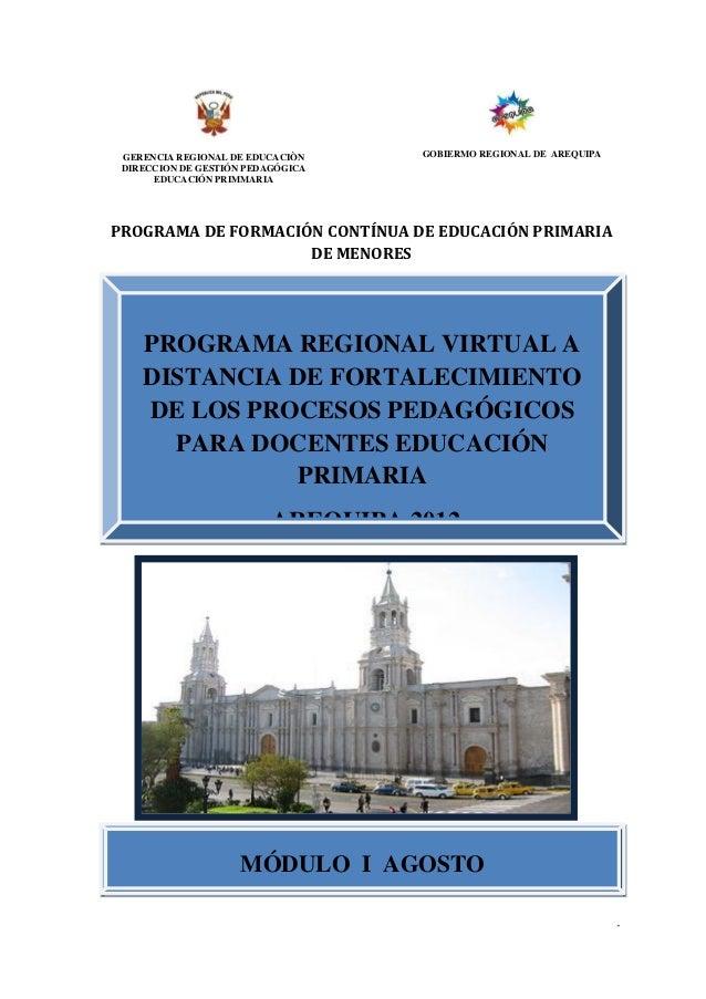 PROGRAMA REGIONAL VIRTUAL A DISTANCIA         FORTALECIENDO LOS PROCESOS PEDAGÓGICOS EN LA REGIÓN AREQUIPA                ...