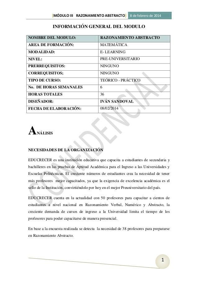 [MÓDULO III RAZONAMIENTO ABSTRACTO] 8 de febrero de 2014  INFORMACIÓN GENERAL DEL MODULO NOMBRE DEL MODULO:  RAZONAMIENTO ...