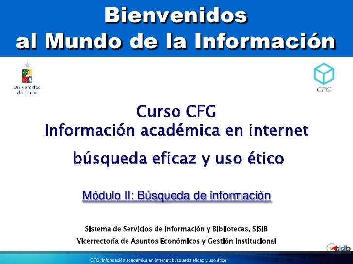Bienvenidosal Mundo de la Información<br />Curso CFG<br />Información académica en internet<br />búsqueda eficaz y uso éti...