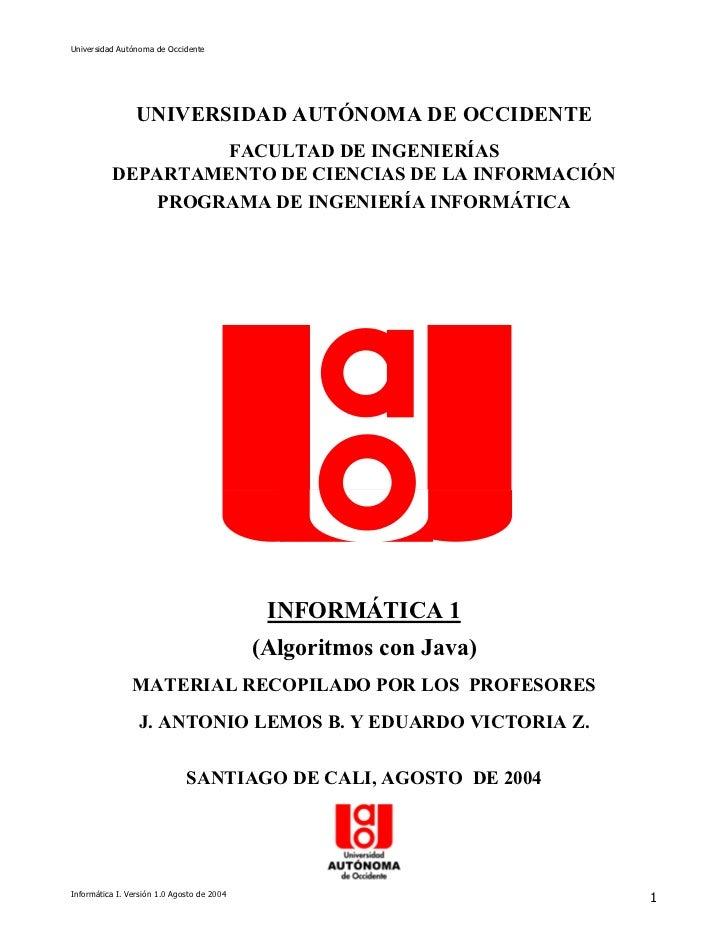 Universidad Autónoma de Occidente                 UNIVERSIDAD AUTÓNOMA DE OCCIDENTE                   FACULTAD DE INGENIER...