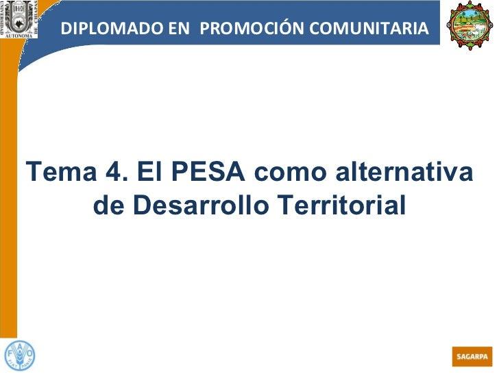 Modulo I Tema 4 El PESA como alternativa de desarrollo de territorial
